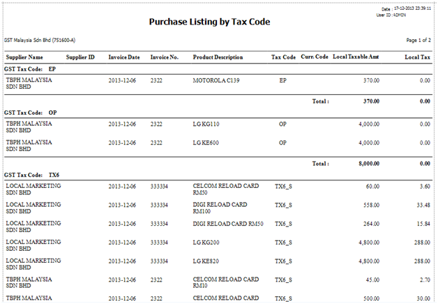 Purchase Listing by Tax Code