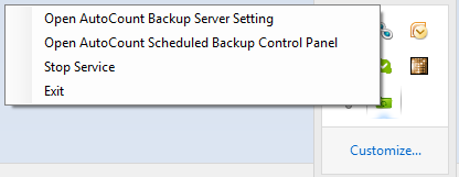 Options available in the AutoCount Backup Server Monitor