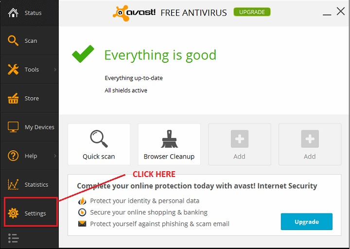 adding an exception to avast