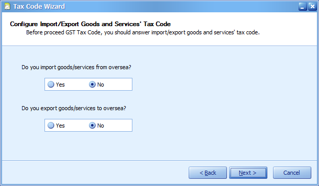Last 2 questions for Tax Code creation