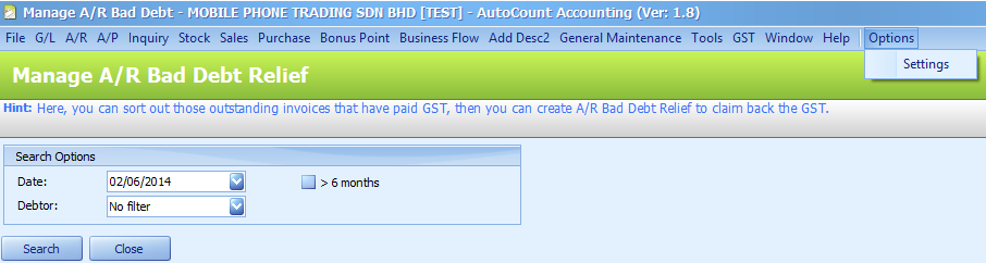 Settings menu for A/R Bad Debt Relief