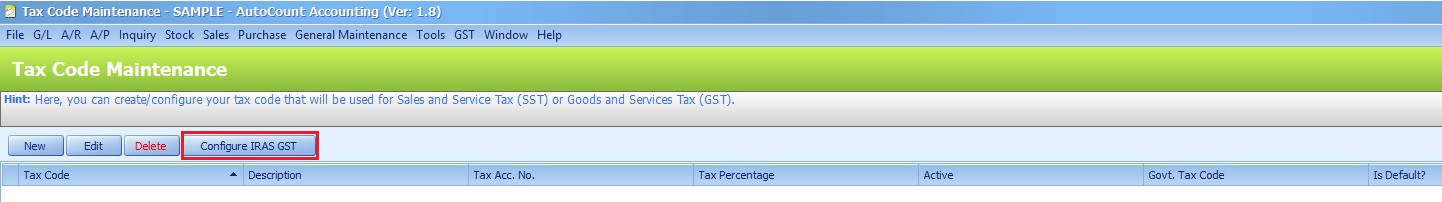 Configure IRAS GST button