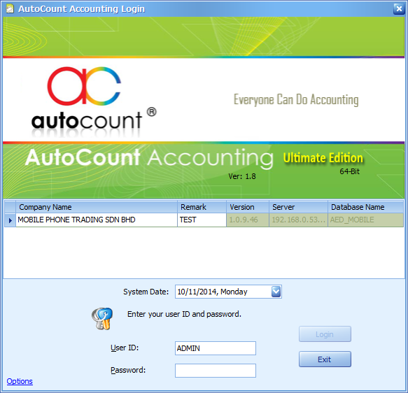 Now you can login without having to navigate to find your account book