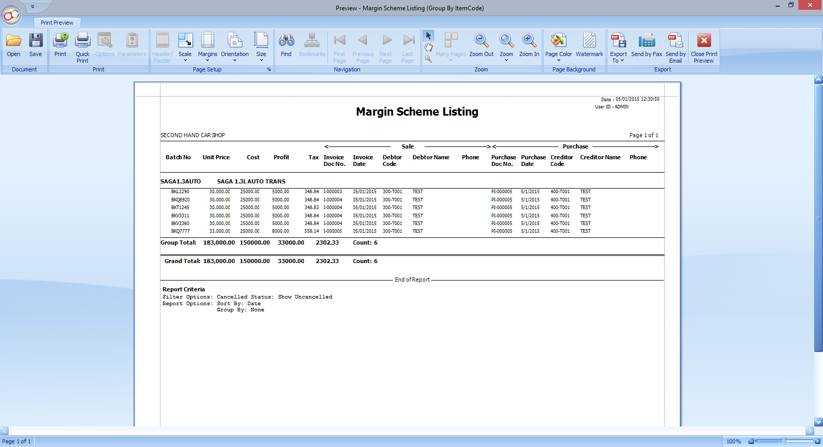 Margin Scheme Report listing style with ItemCode Grouping