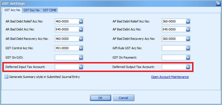These two accounts must be filled before using the GST Date field