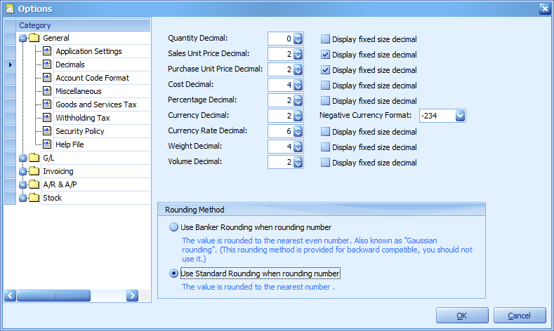 Accessing the new Decimal setting