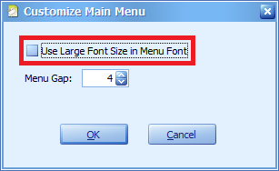 Enable the option so that Large Fonts would be use