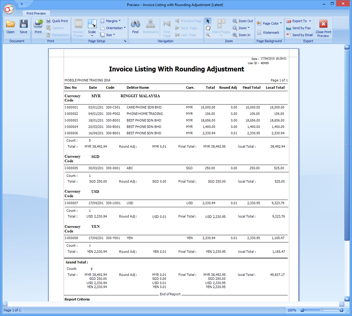 Invoice Listing with Rounding Adjustment