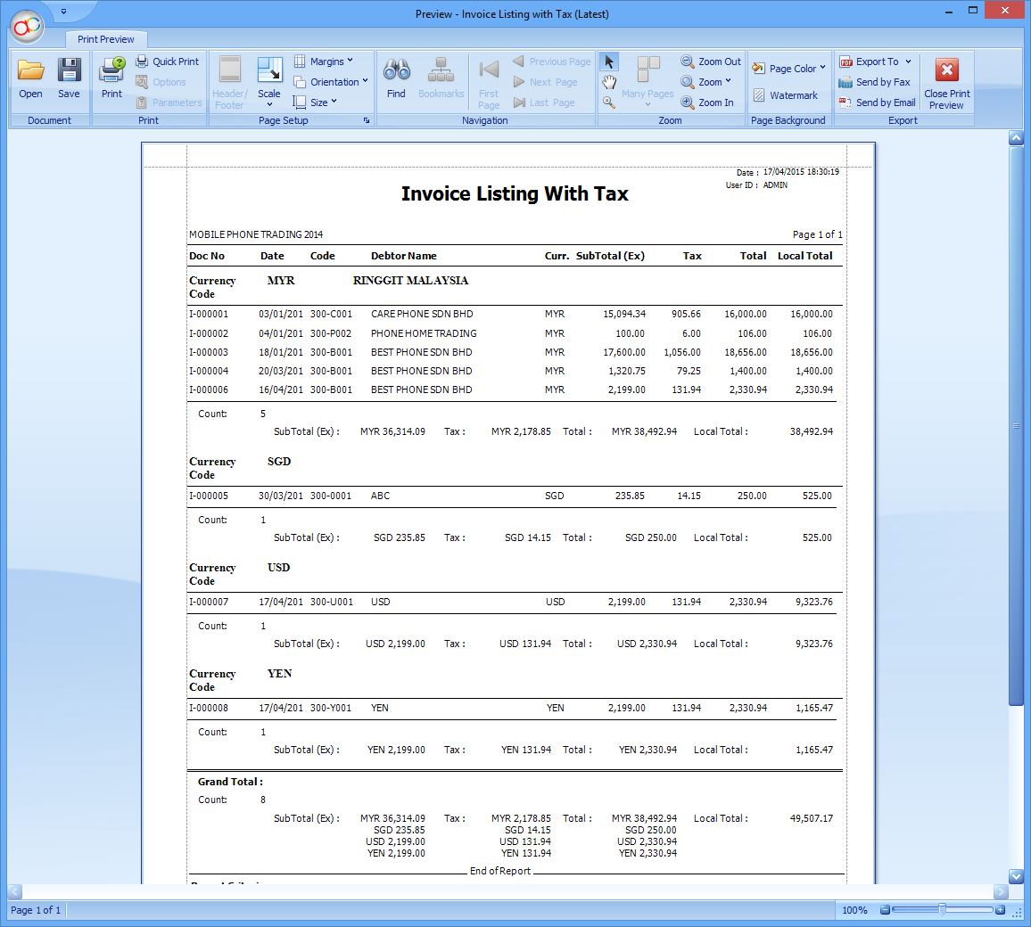 Invoice Listing with Tax