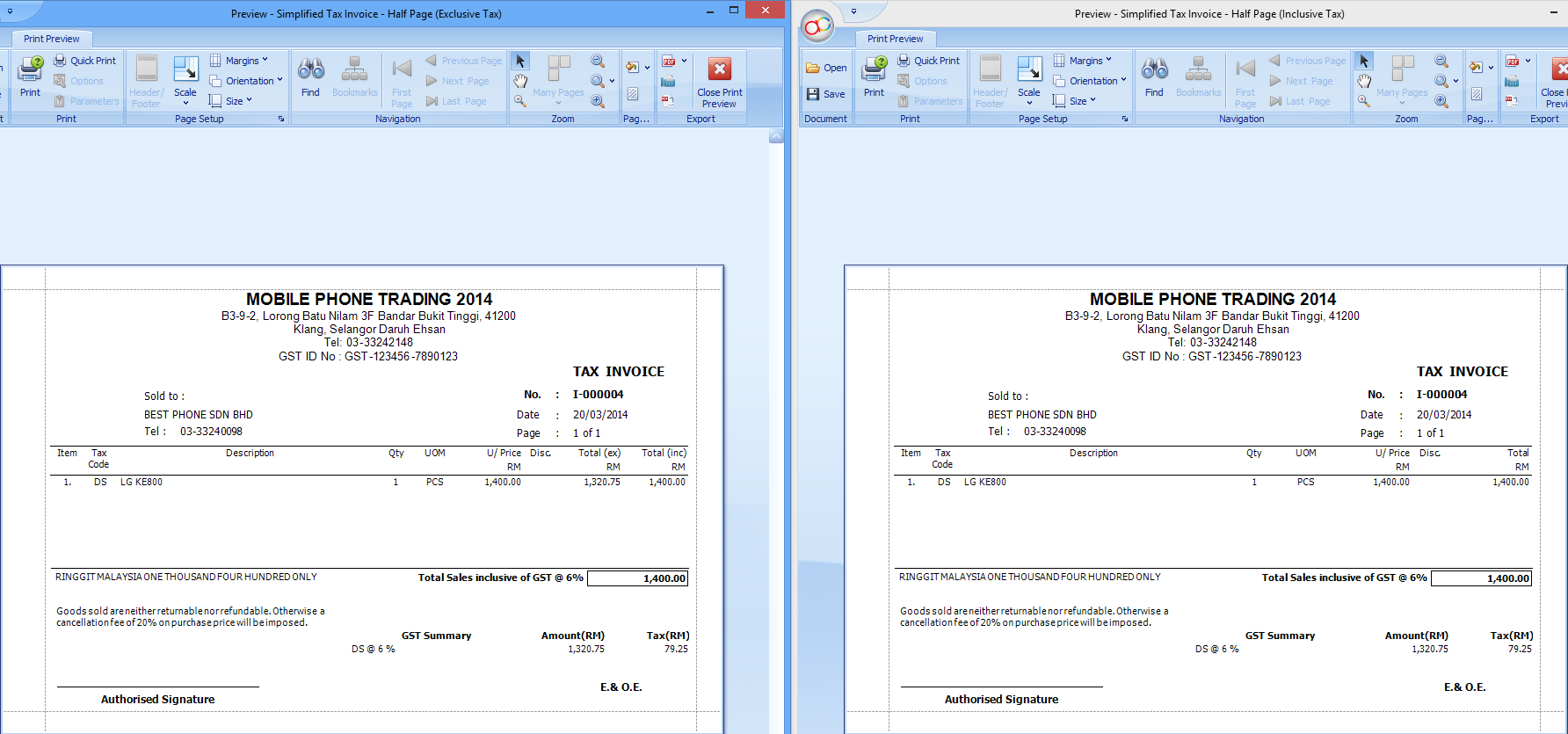 The Left Hand Side Is The Exclusive Template And The Right Hand Side Is The  Inclusive  Invoice With Gst Template