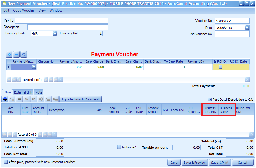 The Business Registration Number and Business Name in the Payment Voucher detail