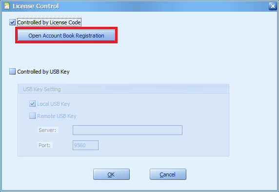 Click on the highlighted button to open the Account Book Registration window