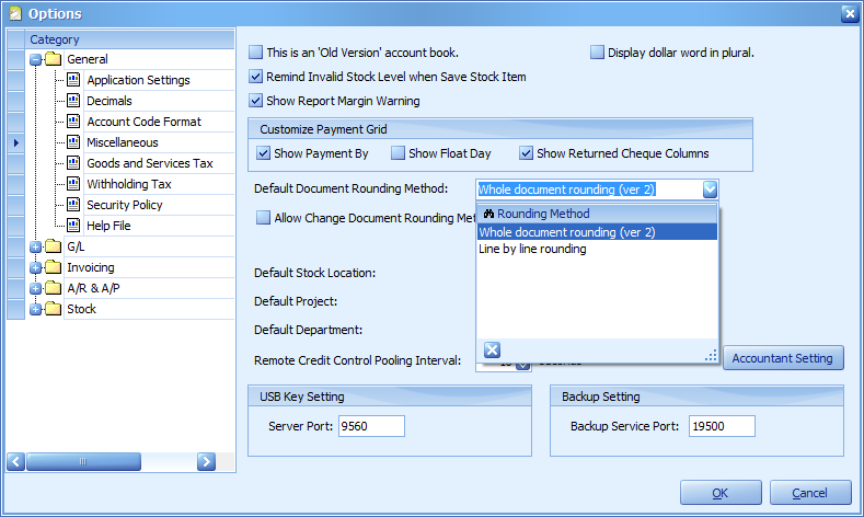 The Default Document Rounding method option