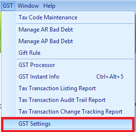 The new GST Setting menu position