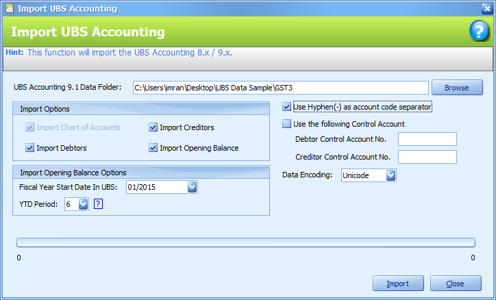 The Import UBS Accounting Data before import is started