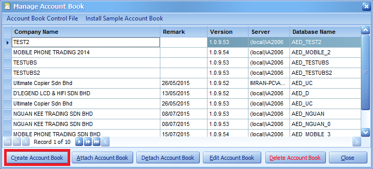 Click the Create Account Book button to start the Account Book creation