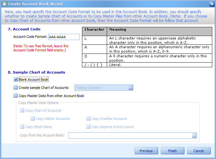 User must choose the Blank Account Book option