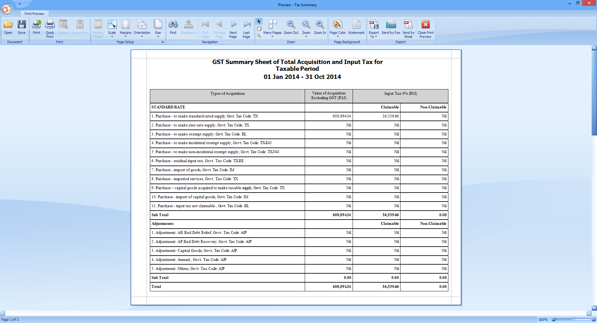 One of the report preview-able from the GST Instant Info