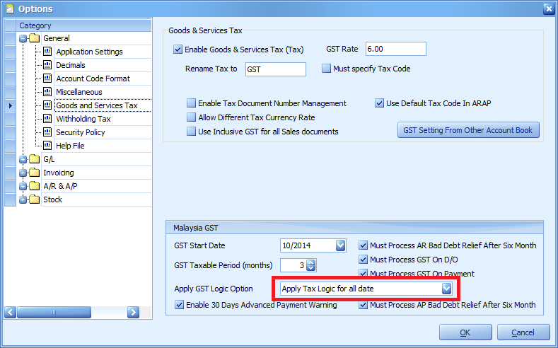 "Set the ""Apply GST Logic Option"" to ""Apply Tax Logic for all date"""