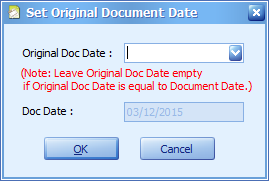 The Set Original Document Date window