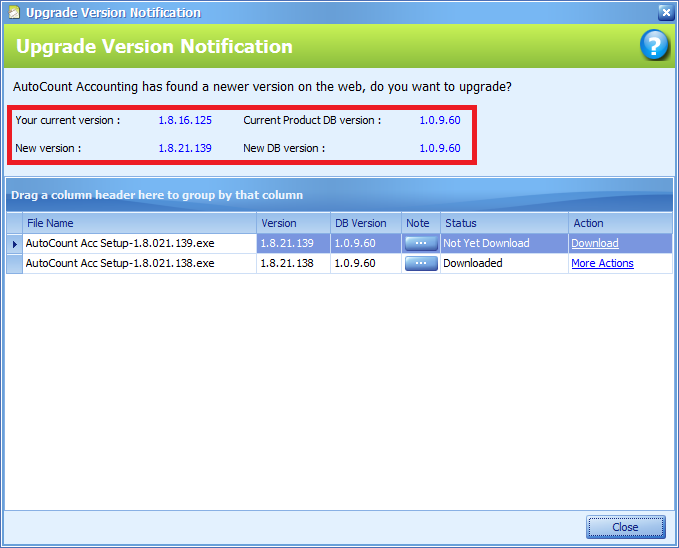 The Upgrade Version Notification window with current and new version information