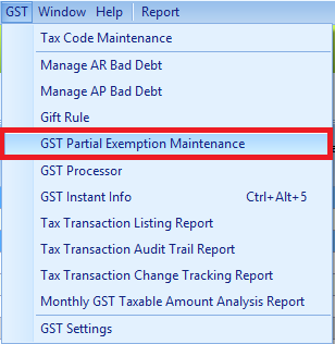 The GST Partial Exemption Maintenance menu