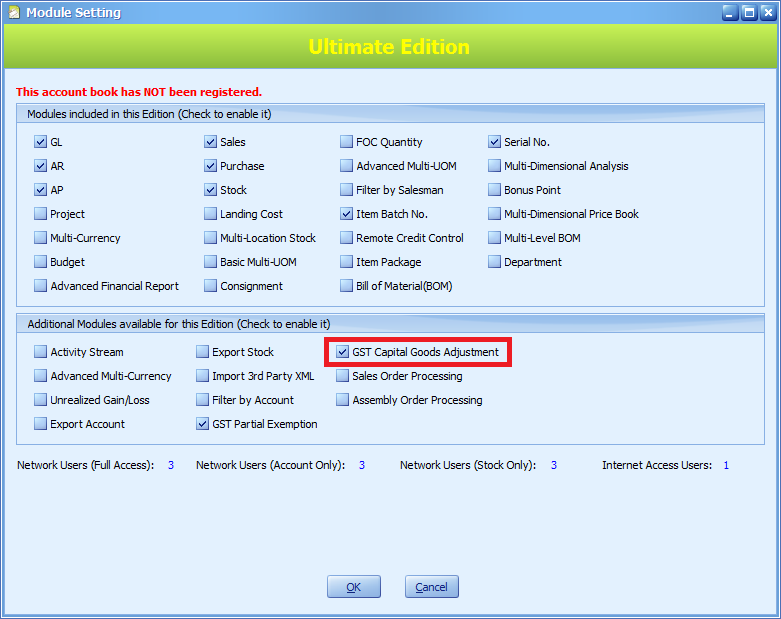 Activate the module in Module Setting
