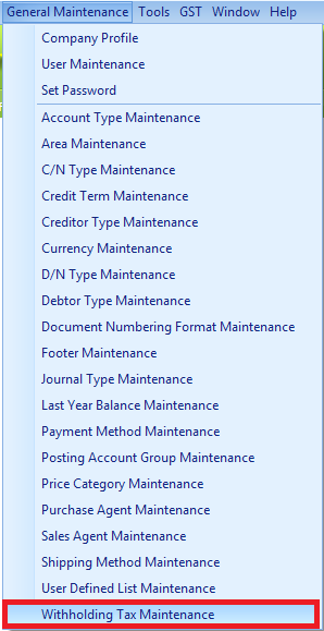 Select the Withholding Tax Maintenance item to access its window