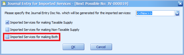 The new option for Imported Services Journal Entry