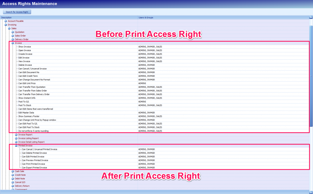 Printed Document Access Right 1