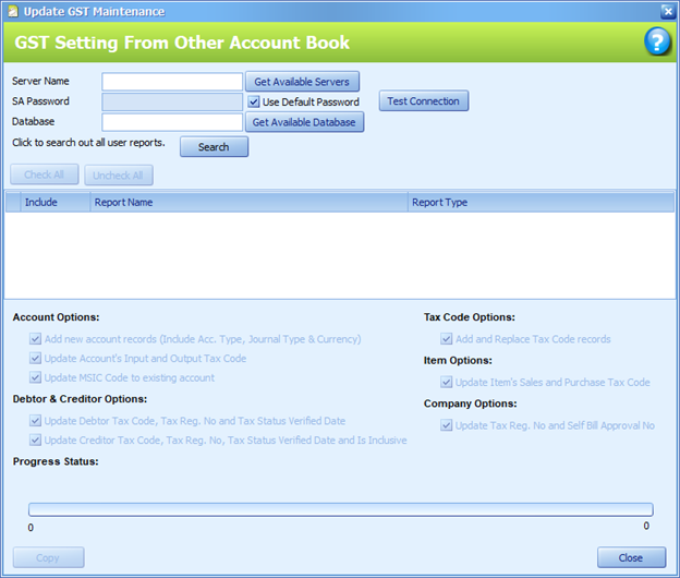 Figure 5 The GST Setting From Other Account Book window after clicking said button in the GST Option tab