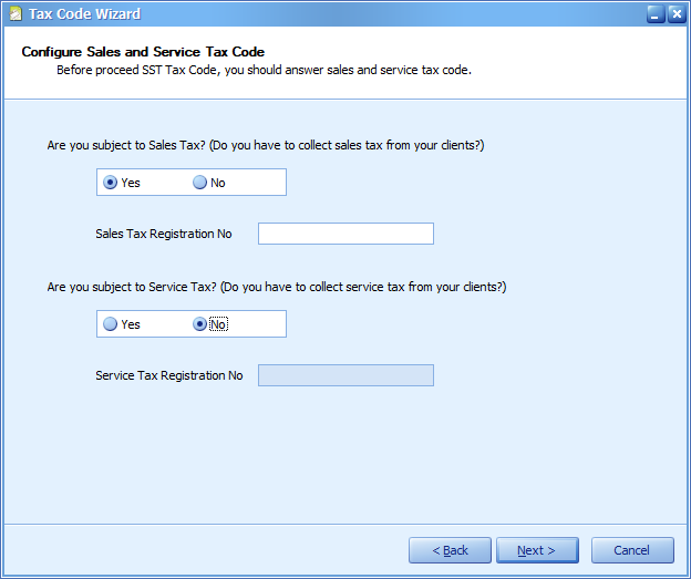 Figure 6 If set Yes for subject to Sales Tax and not entering the registration number...